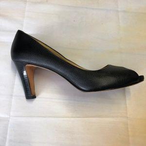Cole Haan Women's Black Leather Peep Toe Heel Size